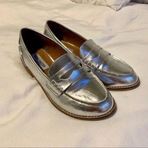 Steve Madden Metallic Silver Loafers
